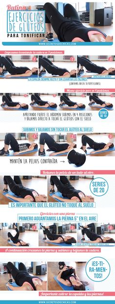 weight loss nutrition health tips health and fitness gym workout Rutinna para tonificar los glúteos paso a paso Pilates Workout, Butt Workout, Gym Workouts, Cardio, Gym Body, At Home Gym, Gym Time, Excercise, Stay Fit