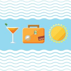 Travel Icons Graphic available in EPS vector format // bag, cocktail, flat, holiday, icons, sea, suitcase, summer, sun, sunshine, travel