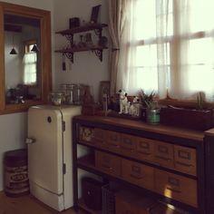 yumiさんの、リビング,サボテン,アンティーク,多肉植物,ワイヤーバスケット,TRUCK… Double Vanity, Kitchen Cabinets, Home Decor, Decoration Home, Room Decor, Cabinets, Home Interior Design, Double Sink Vanity, Dressers