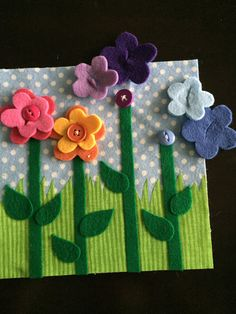 Flower Buttons Quiet Book Page by HannasQuietBooks on Etsy
