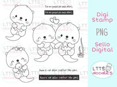 Mothers Day Coloring Pages, Digi Stamps, Otters, Doodles, Happy, Stamps, Otter, Ser Feliz, Donut Tower