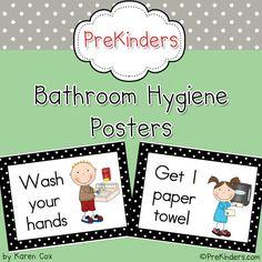 $3 Bathroom hygiene posters via www.prekinders.com #preschool #kindergarten