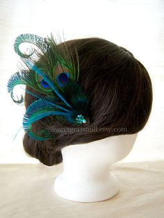 Peacock Fascinator  JOIE PEACOCK  Teal Ostrich by sweetgrassmill, $35.00