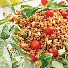 Salade de quinoa rôti à l'indienne Indian Food Recipes, Healthy Recipes, Ethnic Recipes, Couscous Rice, Quinoa Salat, Happy Vegan, Fried Rice, Finger Foods, Cobb Salad