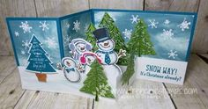 Stamp & Scrap with Frenchie: Birthday Bash Customer Appreciation Z-Fold Box inside card Snow Place, Peaceful Pines