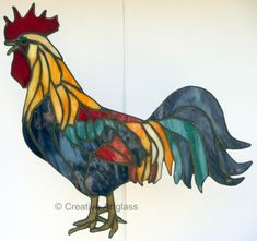 Stained Glass Rooster ~ Glass Rooster Decor with Country Charm *