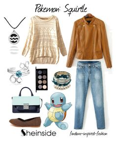 """Pokemon: Squirtle Inspired Outfit"" by fandom-inspired-fashion ❤ liked on Polyvore featuring Bling Jewelry, Glo Minerals, anime, water, Pokemon, geometric and squirtle"