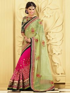 Light Green And Pink Net Saree With Zari And Resham Embroidery Work www.saree.com