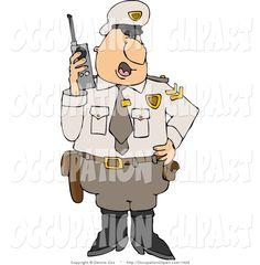 guard clip Art | Clip Art of a Male Security Guard in Uniform, Talking on a Portable CB ...