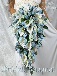 Items similar to BREATHTAKING ANGIE Light BLUE Complete Bridal Bouquet Package silk flowers wedding flower boutonnieres corsages groom handcrafted on Etsy Cascading Wedding Bouquets, Calla Lily Wedding, Calla Lily Bouquet, Summer Wedding Bouquets, Cascade Bouquet, Calla Lillies, Blue Bouquet, Bride Bouquets, Bridal Flowers