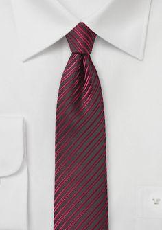 Trendy Striped Skinny Tie in Cherry Red - $10