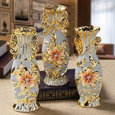 Oro de cerámica de moda florero accesorios de decoración sala de estar casera decoración de lujo regalos de boda Creativo de cerámica artesanías florero