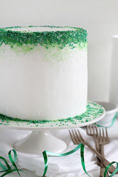 Green Ombre Layer Cake with buttercream frosting and sprinkles! | Courtesy of @Amanda Rettke