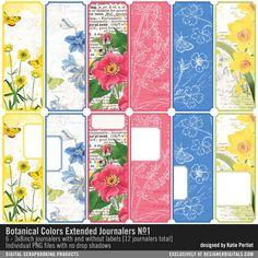 Botanical Colors Extended Journalers No. 01 long botanical labels in a bright color palette #designerdigitals