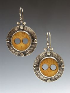 Susan Skinner  |  Bone button and sterling silver earrings.