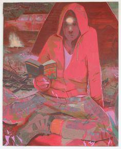 "Matt Bollinger - Reading Dick, Acrylic, flashe, cel-vinyl and collage on canvas 60"" x 48"" 2013"