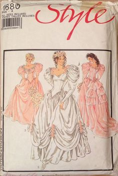 The design is very romantic. The dresses are floor length, two with back trains and one with a gathered up overskirt. There are neckline and sleeve variations, and decorative trims. The dresses have longline pointed bodices and back zip closures. | eBay!