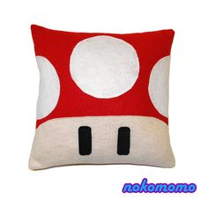 Red Mushroom Pillow  For Men and Women Teens Boys and by nokomomo, $20.00