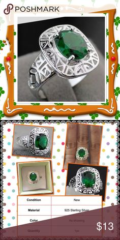 Pretty silver big C.Z. ring Brand new in box details please see second picture Jewelry Rings