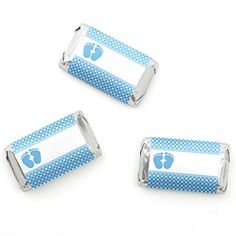 Baby Feet Blue - Baby Shower Mini Candy Bar Wrappers Part...