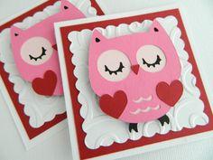 Kids Valentine Cards, Owl Valentine Cards, Handmade Valentine Cards, Valentine's Day on Etsy, £6.22