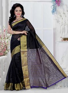 Precise magnificence will come out from your dressing design with this black cotton   casual saree. The enticing patch border work a significant characteristic of this attire. Comes with matching blouse.