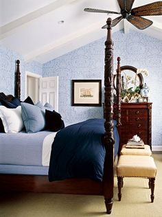 Nautical Bedroom, and beautiful four post bed!