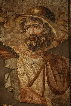 Mosaic with the removal of Briseis, Roman, A.D. 100-200, Stone and Glass, The Getty Villa, Malibu, California