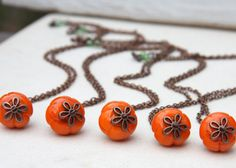 Buy 1 Get 1 Free. Pumpkin Necklace. Halloween Necklace. Harvest Fall Jewelry. Pumpkin Orange Lampwork Glass. Brass Chain.  Autumn Wedding sur Etsy, $29.83 CAD