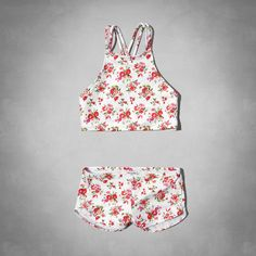 girls floral high neckline two-piece swimsuit | girls new arrivals | abercrombiekids.com