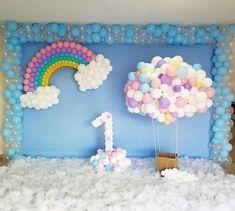 Rainbow birthday party decorations girls Ideas for 2019 1st Birthday Balloons, Unicorn Themed Birthday Party, Rainbow Birthday Party, Baby Girl Birthday, First Birthday Parties, Birthday Party Themes, Unicorn Party, Birthday Backdrop, Girl Birthday Decorations