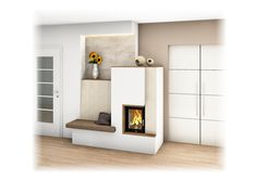 Tiled stove with window and stove bench – Fireplace Ideas 2020 Tiered Garden, Living Room With Fireplace, Stove, Bench, Shelves, Windows, Modern Fireplaces, Fireplace Ideas, Home Decor