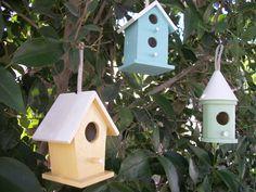 Shabby Chic Birdhouses Set 3 Hanging Birdhouses. $9.50, via Etsy.