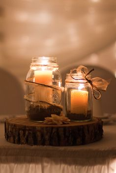 Round wood centerpieces with jars and candles for rustic wedding Fall Wedding, Rustic Wedding, Our Wedding, Dream Wedding, Wedding Barns, Wedding Dinner, Church Wedding, Wood Centerpieces, Centerpiece Ideas