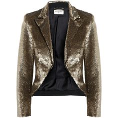 Saint Laurent Cropped sequined crepe jacket (90.005 ARS) ❤ liked on Polyvore featuring outerwear, jackets, saint laurent, blazers, coats, sequin tuxedo jacket, sequin blazer jacket, sequin blazer, sequin jacket and sequin crop jacket