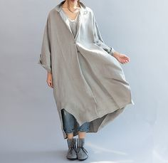 Women cotton linen casual loose fitting summer dress short sleeve  -Buykud -