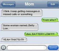 Ideas For Funny Texts Period Mom - Funny text conversations - Funny Text Memes, Funny Texts Jokes, Text Jokes, Funny Text Messages, Really Funny Memes, Mom Funny, Epic Texts, Funny Stuff, Funny Texts To Parents