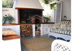 Outdoor area- love the couch detail Outside Living, Outdoor Living Areas, Living Spaces, Brick Built Bbq, Built In Braai, Home Additions, Ideal Home, Home Furniture, New Homes