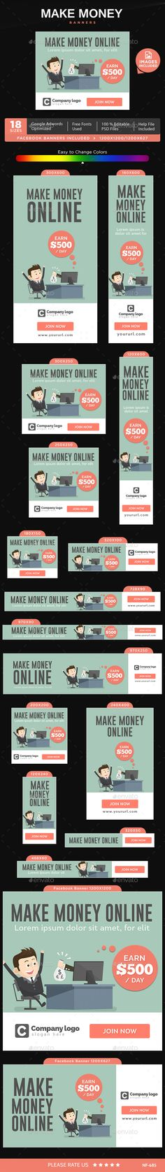 Buy Make Money Banners by Hyov on GraphicRiver. Promote your Products and services with this great looking Banner Set. 18 awesome quality banner template PSD files r. Media Design, Web Design, Make Money Online, How To Make Money, Website Promotion, Web Banners, Home Based Business, Banner Template, Psd Templates