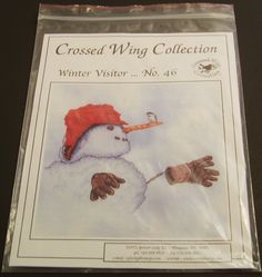 Crossed Wing Collection 46 Winter Visitor by BricoSales on Etsy Cross Stitch Charts, Cross Stitch Patterns, Award Winning Books, Needle And Thread, Etsy Store, Wings, Snowmen, Fabric, Painting