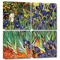 'Irises in the Garden' by Vincent Van Gogh 4 Piece Painting Print Gallery-Wrapped on Canvas Set