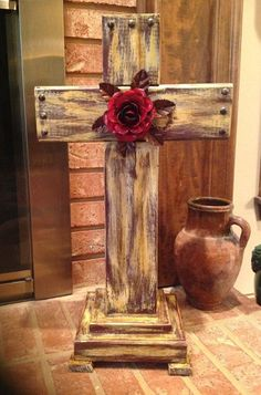 2014 diy Wooden Rustic Crosses with Safflower - crafts, tridimensional