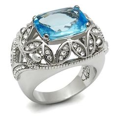 WOMEN'S BIG SILVER TONE FILIGREE DESIGN AQUAMARINE CZ COCKTAIL RING SIZE 6 - 10 #HopeChestJewelry #Cocktail