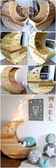 To add an amazing beauty to your kid's room, the creation of DIY pallet moon cradle with the wooden pallet designing in it is the ideal choice for the decoration purpose. This pallet innovation with star art and smart moon like wooden structure is best to teach your kid about the galaxy through the wood furniture item of your home. #pallets #woodpallet #palletfurniture #palletproject #palletideas #recycle #recycledpallet #reclaimed #repurposed #reused #restore #upcycle #diy #palletart…