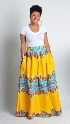 There's a new classic skirt in town. The Zuwa Maxi Skirt features a structured waistband and full ankara skirt for a classic fit that goes with your favorite button up or tank. And who doesn't love a African Print Skirt, African Print Dresses, African Wear, African Attire, African Women, African Dress, African Prints, African Style, African Inspired Fashion