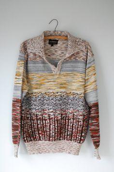 space dye sweater / intarsia knit.