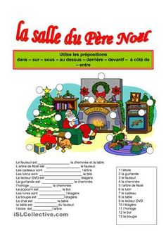 Nice Christmas-themed worksheet on two-way prepositions. French Teacher, Teaching French, French Prepositions, German Resources, French Worksheets, German Grammar, Core French, German Language Learning, French Christmas