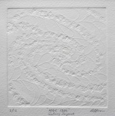 """'NGC1300' Collagraph Embossing. 4"""" x 4"""" on 6.5"""" x 6.5"""" paper. Edition of 12. Somerset Textured Soft white 300gsm paper. All enquiries melanie.ezra@yahoo.co.uk"""