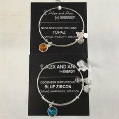 Alex & Ani Birthstone Bundle Sold Individually too! Just ask me to create you a separate listing, I multiples of each! This listing is for both. Authentic Alex & Ani November and December birthstones, both in silver, brand new with tag and card! Alex & Ani Jewelry Bracelets