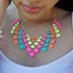 neon accents #necklace #summer #colors